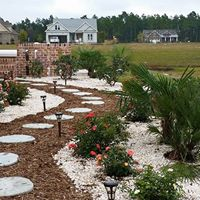 Gravel plant beds with shrubs and flowers