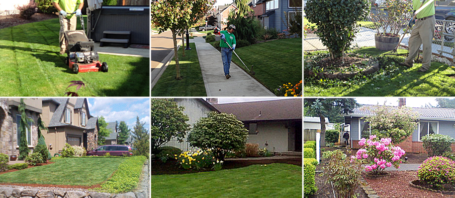 Mowing,  trimming, edging, cleaning up, and maintaining the landscape