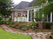 Backyard Landscape with Flagstone Path